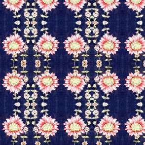 50ies_vintage_dress_fabric_pink_flowers_on_bright_navy_background