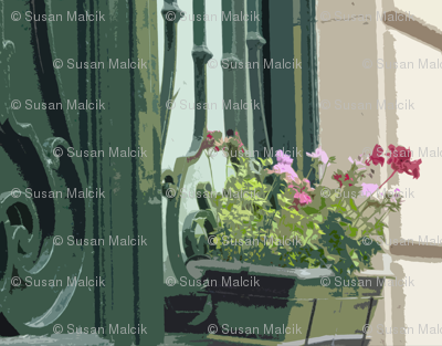 Geraniums in a Window Box - Paris in July