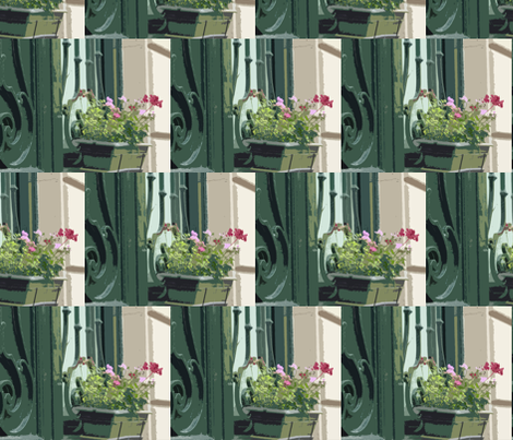 Geraniums in a Window Box - Paris in July fabric by susaninparis on Spoonflower - custom fabric