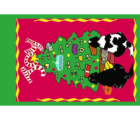 Newfoundland dog Christmas Wall Hanging fabric by dogdaze_ on Spoonflower - custom fabric