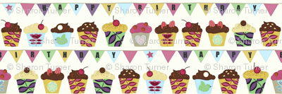 happy birthday bunting cupcakes