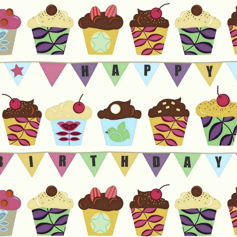 happy birthday bunting cupcakes fabric by scrummy on Spoonflower - custom fabric