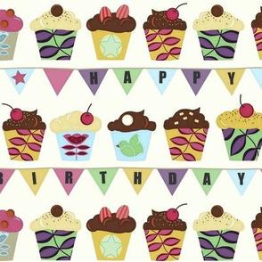 happy birthday bunting cupcakes