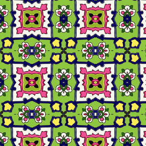 Small Tile-green-pink
