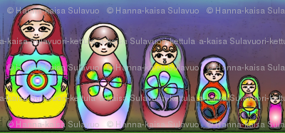 Russian dolls in rainbow colour on line
