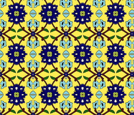 flowertile yellow-turquise fabric by miss_blümchen on Spoonflower - custom fabric