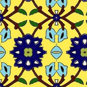 flowertile yellow-turquise
