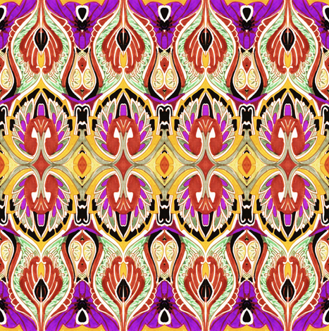So Sari (gold/purple) fabric by edsel2084 on Spoonflower - custom fabric