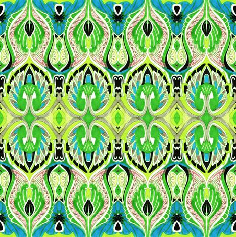 So sari (lime/cyan) fabric by edsel2084 on Spoonflower - custom fabric