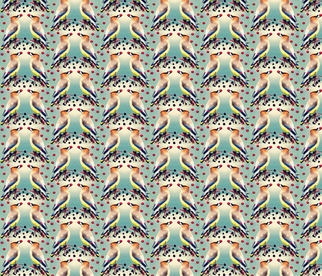 Cedar Waxwings with Toyon Berries fabric by robin_rice on Spoonflower - custom fabric