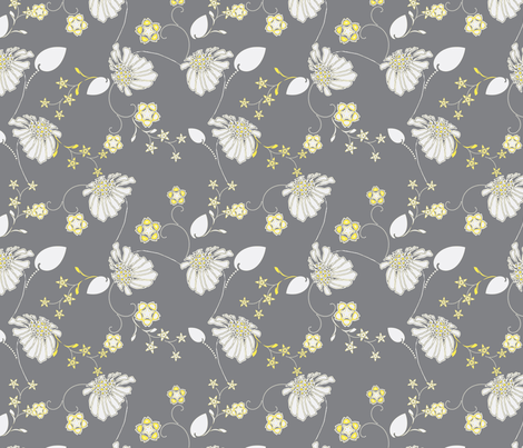 Daisy Chain Blue and Gray-ch fabric by joanmclemore on Spoonflower - custom fabric