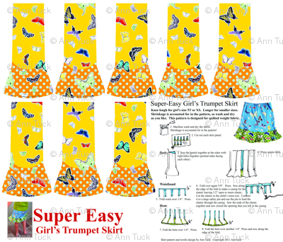 Super Easy Girl's Trumpet Skirt Pattern - Quilting weight only Yellow/Orange