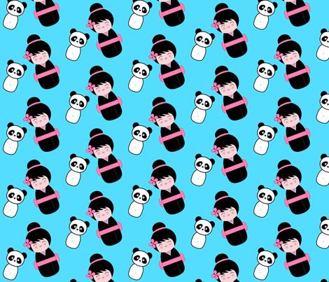 Chinoiserie Kokeshi and Panda fabric by mayabella on Spoonflower - custom fabric