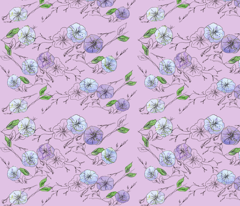 Morning Glory in Lavender fabric by countrygarden on Spoonflower - custom fabric