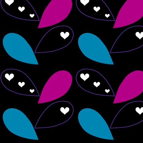 Leaves & Hearts - Night Candy - © PinkSodaPop 4ComputerHeaven.com fabric by pinksodapop on Spoonflower - custom fabric