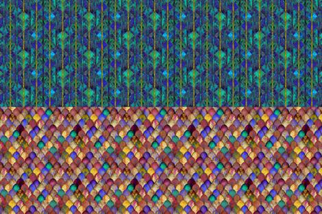 Jewel-bright dragon scales, and Decorative eggs: half yard of each, by Su_G fabric by su_g on Spoonflower - custom fabric