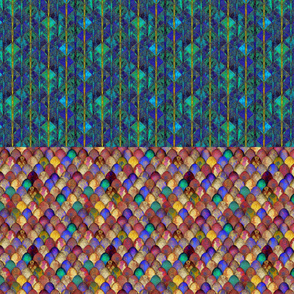 Jewel-bright dragon scales, + Decorative eggs: half yard of each, by Su_G