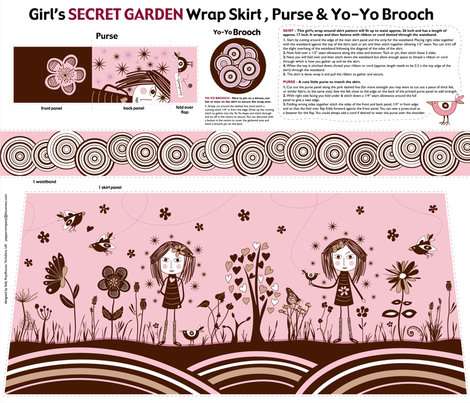 Secret_Garden_girls_skirt fabric by peppermintpatty on Spoonflower - custom fabric