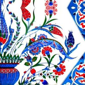 Tahtakale Flowers Silk Crepe de Chine blue-orange