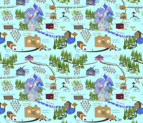 Fairy Tale Map - Blue fabric by petals_fair_(peggy_brown) on Spoonflower - custom fabric