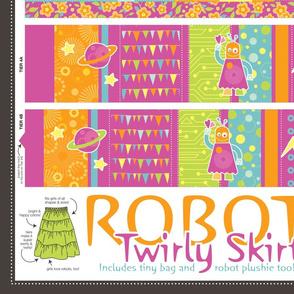 Robot Twirly Skirt (with plushie & mini bag)