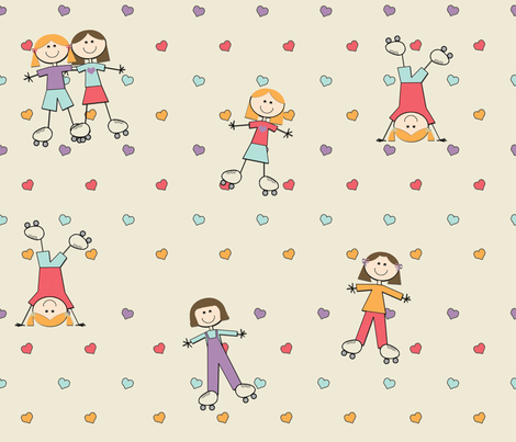 Little Roller Girls fabric by jpdesigns on Spoonflower - custom fabric