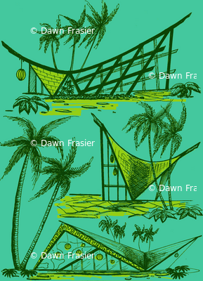 A-frames, poolside