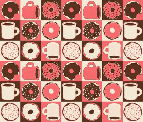 "Coffee & ""Doh""nuts (Peach) fabric by jaydesign on Spoonflower - custom fabric"