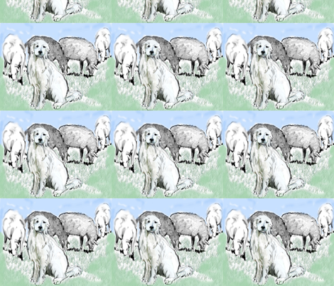 Great Pyrenees Pastoral fabric by dogdaze_ on Spoonflower - custom fabric