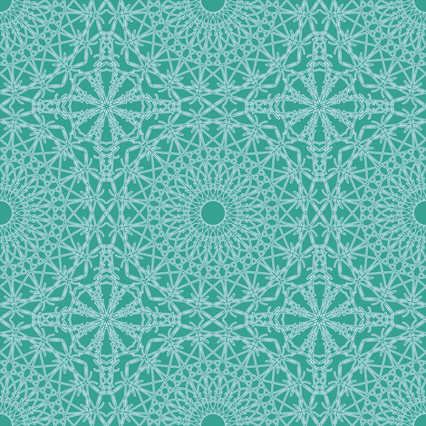 Crocheted Lace - Bright Aqua fabric by strive on Spoonflower - custom fabric