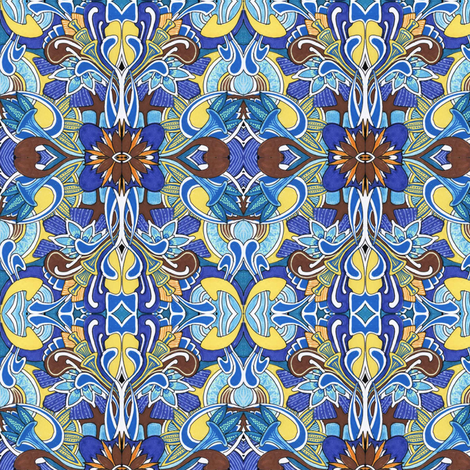 Blue and Chocolate Romance fabric by edsel2084 on Spoonflower - custom fabric