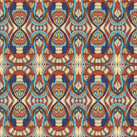 Native Spirit (blue/brown) fabric by edsel2084 on Spoonflower - custom fabric