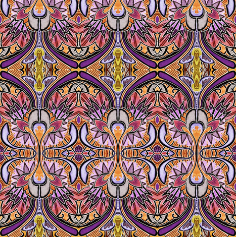 Nouveau Deco a Go Go (in negative magenta) fabric by edsel2084 on Spoonflower - custom fabric