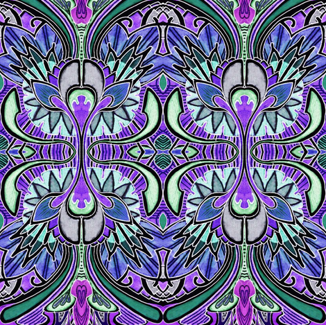 Nouveau Deco a Go Go (midnight) fabric by edsel2084 on Spoonflower - custom fabric