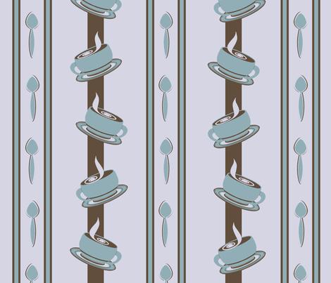 Coffee Cup Spoon Stripes fabric by jazilla on Spoonflower - custom fabric