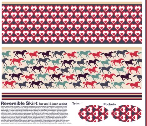 wild horses reversible skirt pattern fabric by babysisterrae on Spoonflower - custom fabric