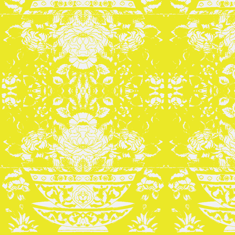 Chinese Tee Bowl mustard fabric by miss_blümchen on Spoonflower - custom fabric