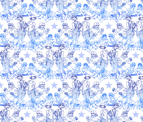 Roller Derby Girls fabric by racheljones on Spoonflower - custom fabric