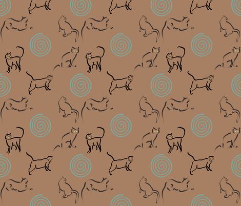 Copper25_fabric_with_cats_&_spirals_for_Tia fabric by mina on Spoonflower - custom fabric