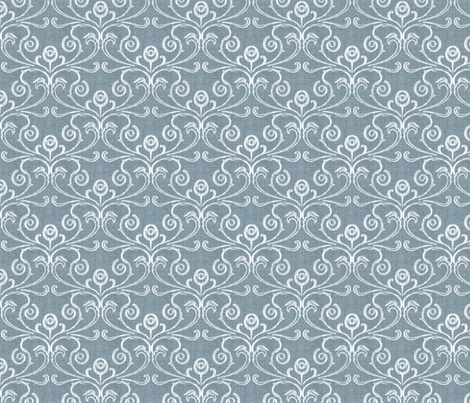 Petite Faded French Rose - Blue fabric by kristopherk on Spoonflower - custom fabric