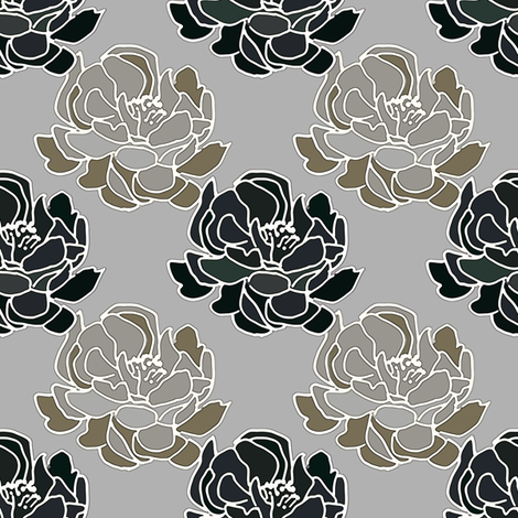 Blossoms Black  in gray and bronze fabric by joanmclemore on Spoonflower - custom fabric