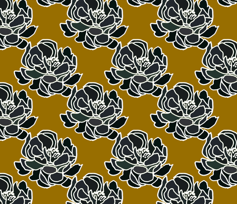 Blossoms on sienna fabric by joanmclemore on Spoonflower - custom fabric