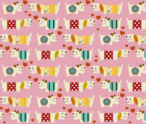 woo woo woofers pink fabric by scrummy on Spoonflower - custom fabric