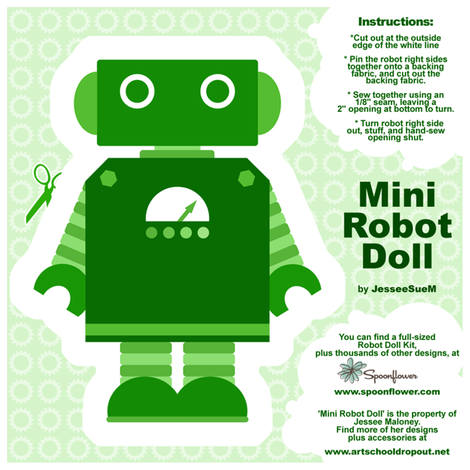 Mini Robot Doll - Green fabric by jesseesuem on Spoonflower - custom fabric