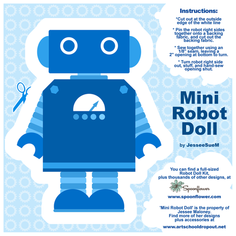 Mini Robot Doll - Blue fabric by jesseesuem on Spoonflower - custom fabric