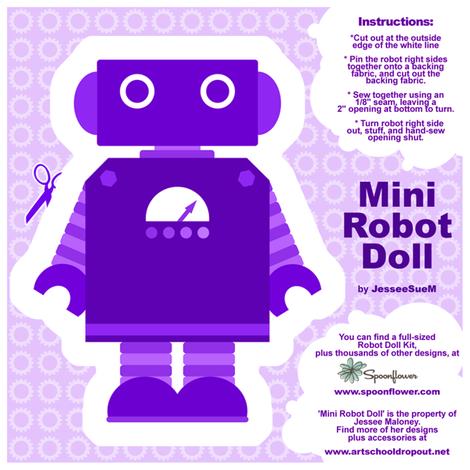 Mini Robot Doll - Purple fabric by jesseesuem on Spoonflower - custom fabric