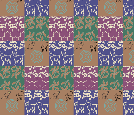 Swatch-test_cheater_quilt_copper-gypsy-skirt-with-cats fabric by mina on Spoonflower - custom fabric