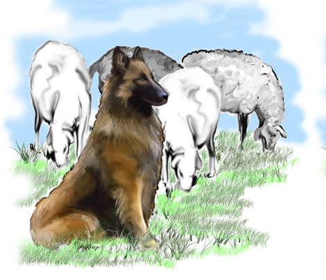Belgian Tervuren With The Flock fabric by dogdaze_ on Spoonflower - custom fabric