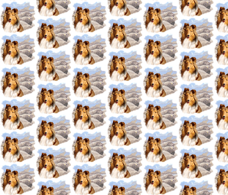 Shetland Sheepdog With Sheep fabric by dogdaze_ on Spoonflower - custom fabric