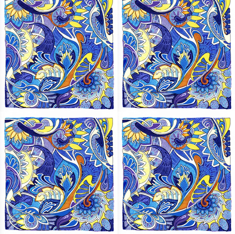 Blue Tile Paisley Patch fabric by edsel2084 on Spoonflower - custom fabric